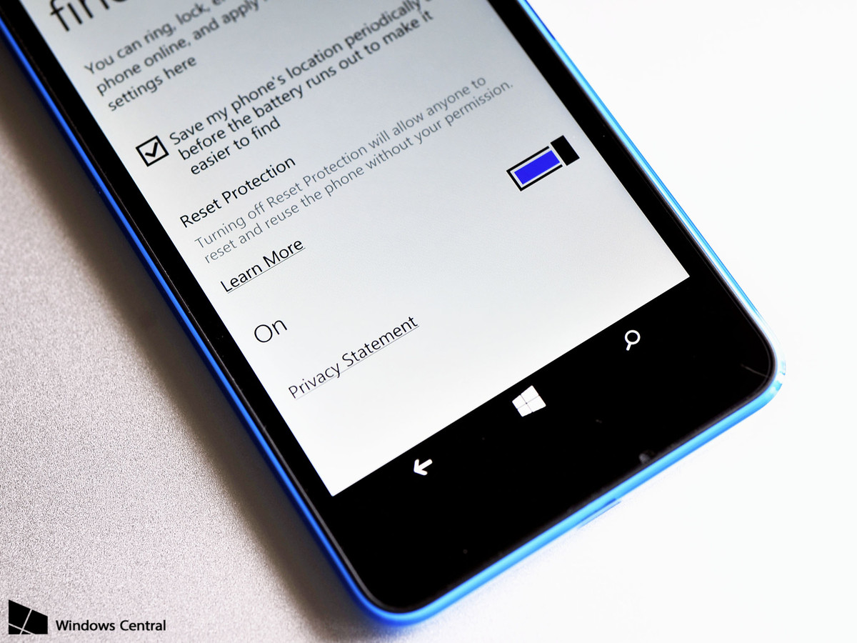 Reset Protection in Windows Phone